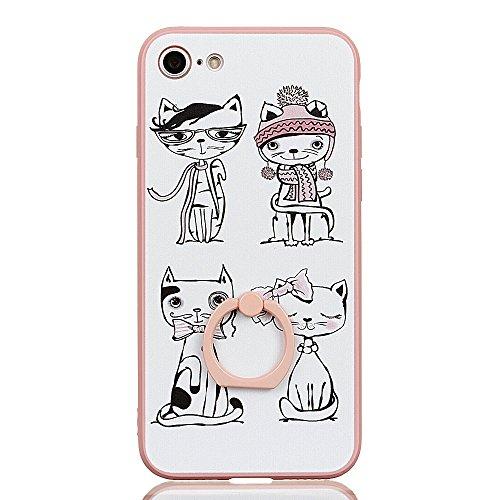 Voguecase Für Apple iPhone 7 Plus 5.5 hülle, Schutzhülle / Case / Cover / Hülle / TPU Gel Skin mit Ring Schnalle (Pink-Fashion Girl 05) + Gratis Universal Eingabestift Pink-Weiß Katze 04