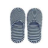 Dilwe Pantofole Interne, Pantofole Antiscivolo in Cotone Confortevole ed Hotel Eva con Custodia per Uso Interno per Uomo/Donna(Uomo-Blue Stripes)