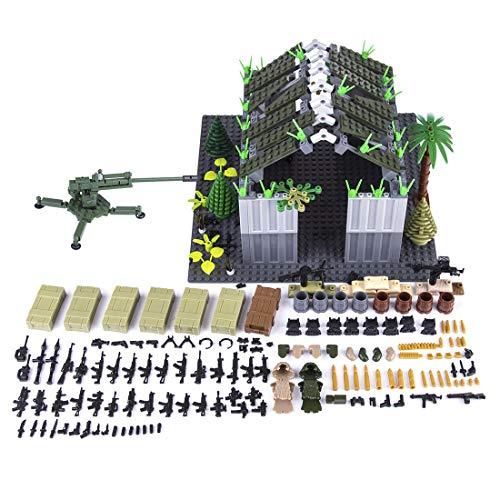 LOSGO 598 Stück Millitärspielzeug Waffe Lager mit Helm Sandsäcke Tarnkleidung Kaserne Set für Soldaten Figuren SWAT Polizei, Waffensammlung Kompatibel mit Lego
