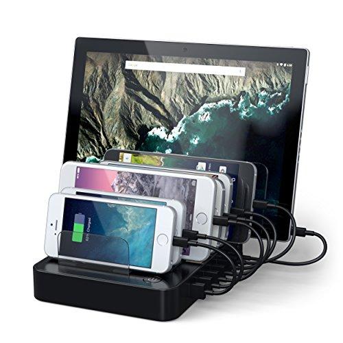 Satechi Estación de Carga con 7 Puertos USB para iPhone 7 Plus/ 7/ 6 Plus/ 6/ SE/ 5S/ 5C/ 5/ 4S, iPad Pro/Air/Mini/3/2/1/, Samsung Galaxy S6 Edge/S6/S5/S4/S3/Note/Note2/Tab, iPod, Nexus, HTC, y más (Negro)