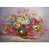 ERQINGSZH Digitale Malerei Rahmenlose Bunte Minion Blume DIY Malen Nach Zahlen Abstrakte Ölgemälde Auf Leinwand Einzigartiges Geschenk Für Wohnzimmer Dekoration