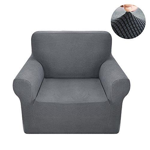 Sessel Husse Sesselbezug Sesselhusse Elastisch Stretch Jacquard aus Rutschfest Material Elegant (Grau, 1 Sitzer 80-120cm)