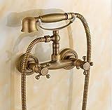 Bijjaladeva Wasserhahn Bad Wasserfall Mischbatterie Waschbecken Armatur für Antike Dusche Kit Antik Messing -Dusche Dusche, Warmes und Kaltes Wasser Armaturen an der Wand montierte