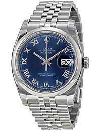 Rolex Edelstahl Armband Datejust Jubilee Stahl Herren Uhr Zifferblatt Blau