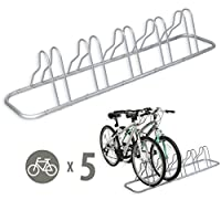 Simple Houseware 5 Bike Bicycle Floor Parking Adjustable Storage Stand Silver GR-001-1