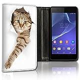 Hülle Galaxy S5 / S5 Neo Hülle Samsung S5 / S5 Neo Schutzhülle Handyhülle Flip Cover Case Samsung Galaxy S5 / S5 Neo (OM118 Katze Braun Weiß)