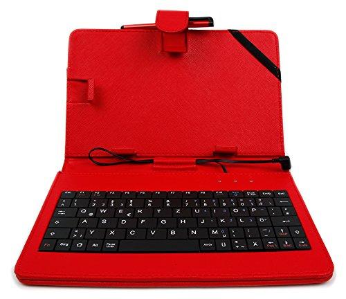 DURAGADGET Deutsche Tastatur QWERTZ (7 Zoll) in Rot für Lenovo Motorola Moto G4 | G4 Plus, Vivo V5 | X9 (Plus) | XPlay 6, Bestore A9 | X8, Doogee Shoot 1 und Bluboo Dual Smartphones