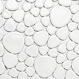 Mosaik Fliese Keramik Kiesel weiß glänzend für BODEN WAND BAD WC DUSCHE KÜCHE FLIESENSPIEGEL THEKENVERKLEIDUNG BADEWANNENVERKLEIDUNG Mosaikmatte Mosaikplatte
