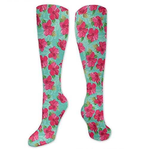 Unisex Highly Elastic Comfortable Knee High Length Tube Socks,Botanical Garden Pattern With Pink Hibiscus Blossoms Aloha Nature,Compression Socks Boost Stamina,Seafoam Magenta And Green -