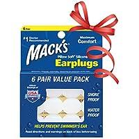 Mack's Pillow Soft Silicone - Tapones para los oídos para natación, color blanco, talla 6 Pairs