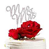 HIMETSUYA Wedding Cake Topper Mr & Mrs Fidanzamento / Anniversario Decorazione per Torte Acciaio Inossidabile Strass Cake Topper Cake Topper Matrimonio (Argento)