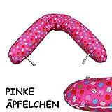 Baby Stillkissen, 170 x 35 cm | Lagerungskissen in 8 verschiedenen Farben | mit EPS-Balls Füllung und Bezug aus 100 % Baumwolle, Äpfel pink
