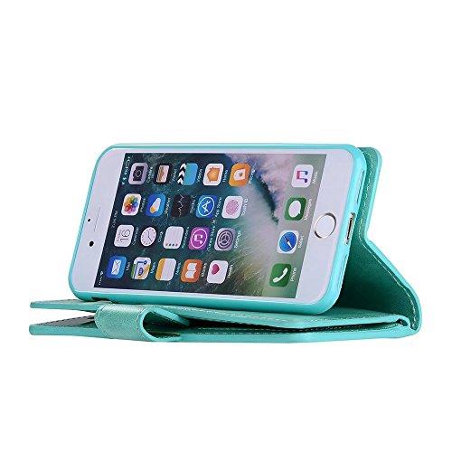 EKINHUI Case Cover Luxuxart und weise-Mappen-Beutel-Kasten, 9 Karten-Schlitze PU-lederner Schlag-Standplatz-Geldbeutel-Kasten-Abdeckung mit Reißverschluss u. Lanyard u. Kickstand für iPhone 7 ( Color  Green