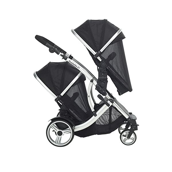 Duellette 21 Combo Twin Tandem Pushchair Baby Newborn carrycots Pram Travel system : 2 Pramette/seat units, 2 FREE Black footmuffs 2 Rain covers, Midnight Black by Kids Kargo Kids Kargo Demo video please see link https://www.youtube.com/watch?v=X_tEcnQ8O8E Compatible with car seats; Kids Kargo, Britax Baby safe or Maxi Cosi adaptors. Versatile. Suitable for Newborn Twins: Both carrycots have mattress and soft lining, which zip off. Remove lining and lid, when baby grows out of carrycot mode. Converts to a full sized seat unit, with 5 point harness. 4