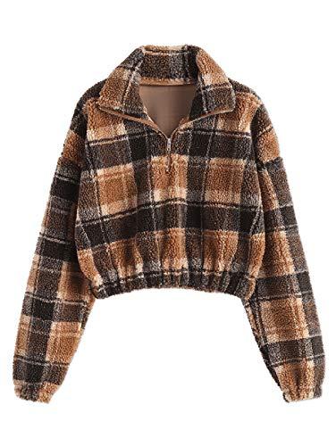 ZAFUL Damen Plüsch Pullover Mantel Karierte Teddy Fleece Sweatshirt Langarmshirt für Herbest Winter Khaki L Size