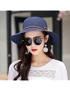 Sombrero de Paja femenina SUNCAP sombrilla tapa de playa en verano, playa de vacaciones grandes aleros sombrilla...