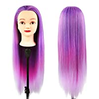 26 Inch Hairdressing Training Head, MINLIDAY Synthetic Fiber Hair Doll For Curling, Cutting, Braiding, Female Mannequin Manikin Doll With Table Clamp Holder