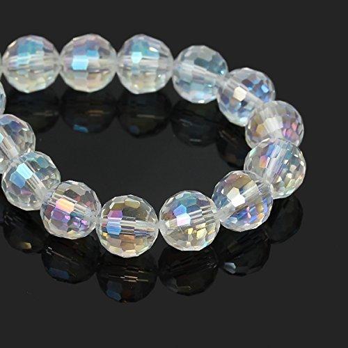 Sadingo Glasperlen Transparent - Facettierte Form - Schmuck selber Machen, dyi Armband, Kette - 10 Stück - 10 mm