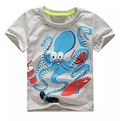 Giulogre Enfant Unisex Manche Courte Dessin animé T-Shirt Haut à Manches Courtes Mode pour Fille Garçon 3 Ans - 7 Ans Toddler Bébé