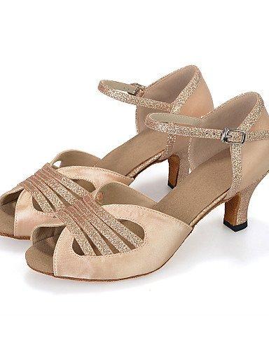 ShangYi Chaussures de Danse(Bleu/Rouge/Ivoire) -Personnalisables-Talon Bobine-Satin/Paillette Brillante-Ventre/Latine/Jazz/Baskets de