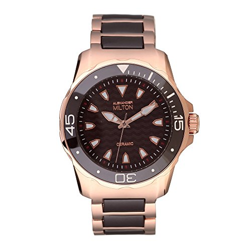 ALEXANDER MILTON - montre homme - ARISTOS, marron/dore rose