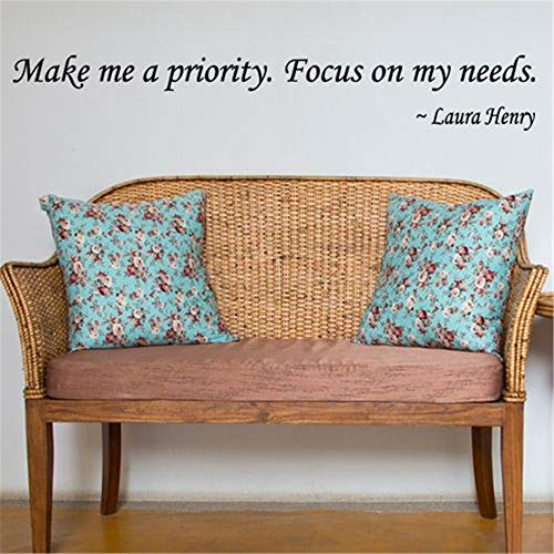wandaufkleber küche kaffee Make Me A Priority focus on my needs Laura Henry Wall Quote for living room bedroom wall sticker