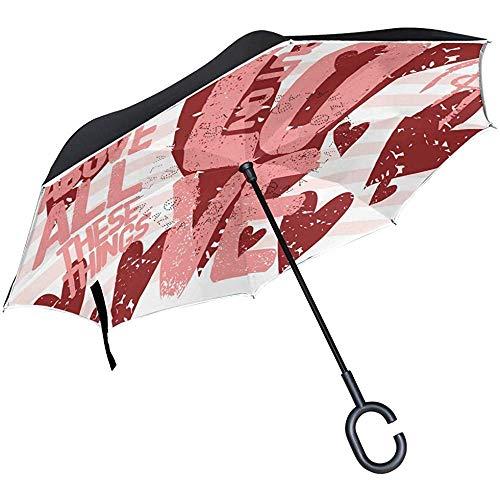Reverse-Regenschirm Cute Valentine Inverted Umbrella Reversible für Golf Car Travel Regen Outdoor Schwarz