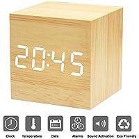 Despertador LED Cubo XAGOO Reloj Digital Despertador, Despertador de Madera con Activación por Sonido, 3 Alarmas Programables y con Indicador de Temperatura para Hogar y Oficina (Amarillo-Blanco)