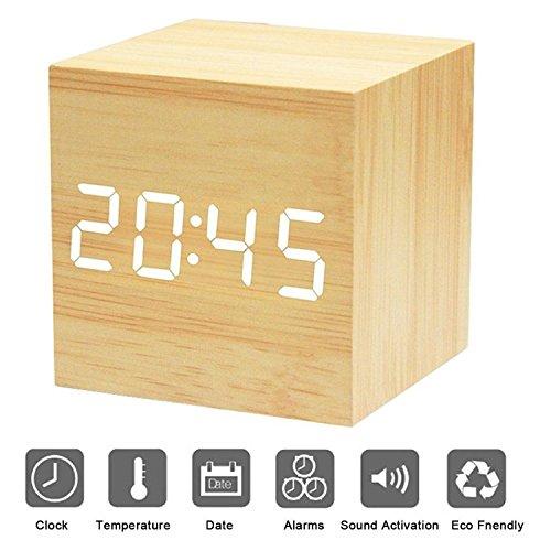 Sveglia Digitale Legno XAGOO Cube LED Digitale Orologio da Tavolo, Sveglia Digitale da Comodino con Orario Tempo Data e Temperatura Display, Sensore del Suono per l'attivazione
