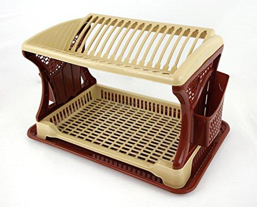 Diseño elegante dos capa plástico escurreplatos–Accesorio de cubiertos escurridor esponja Caddy con bandeja de goteo–Organizador de cocina