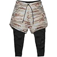 Ducomi Pantaloncino Uomo Fitness + Leggings Compressione Running 2 in 1 - Pantaloni Lunghi e Pantaloncini Palestra…
