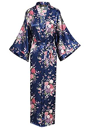 babeyond damen morgenmantel maxi lang seide satin kimono kleid bl tenkirsche muster kimono. Black Bedroom Furniture Sets. Home Design Ideas