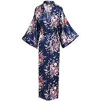 BABEYOND Kimono de Seda Vestido de Satén Kimono Pavo Real Novia Pijamas de Seda Bata de Satén 135 cm