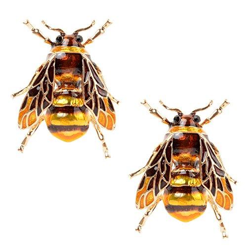 MAXGOODS 2 STK Biene Fliegen Insekt Brosche Biene Kleidung Zubehör Gold Grüne Farbe