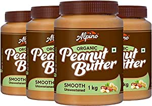 Alpino Organic Natural Peanut Butter Smooth 4 KG - Super Saver Pack | Unsweetened | Made With 100% Roasted Organic Peanuts | No Added Sugar | No Added Salt | No Hydrogenated Oils | 100% Non-GMO | Gluten-Free | Vegan | 1 KG Pack Of 4