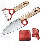 Kinder - Kochmesser - Set, Messer mit abgerundeter Spitze, Sparschäler, Fingerschutz