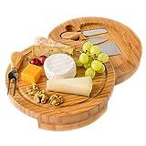Käsebrett mit Käsemessern - Runde Käseplatte aus Holz mit 4 Messern