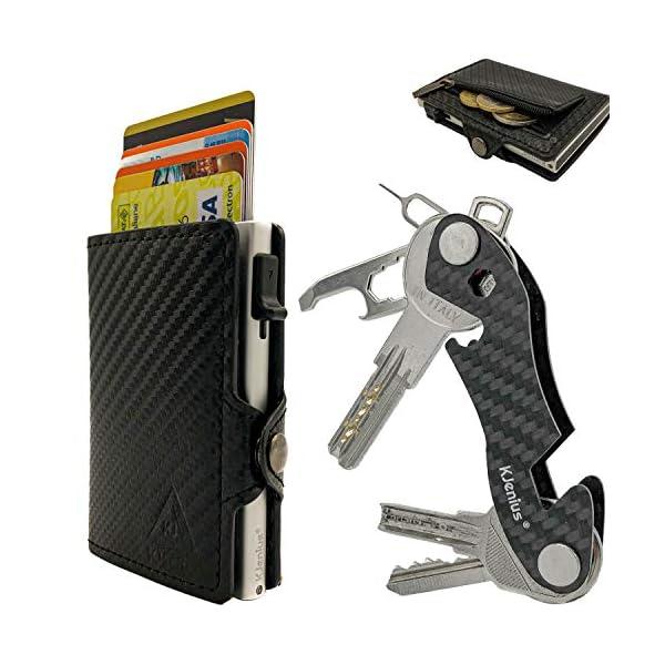 Portafoglio Porta Carte Di Credito Uomo Donna Pelle Fibra Di Carbonio Protezione RFID NFC Antifrode Sottile Slim Zip… 1 spesavip