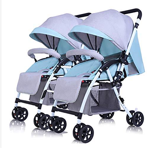 GAELLE Der Abnehmbare Twin-Kinderwagen Kann Auf Einem Liegenden, Leichten, Zusammenklappbaren Zwei-Kinder-Doppelwagen Sitzen (Color : Linen Mint Green)