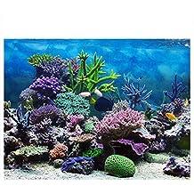 Cartel de Fondo del Acuario Cartel de Tanque de Peces Adhesivo de PVC Arrecife de Coral