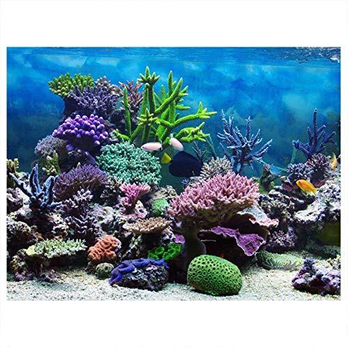HEEPDD Aquarium Poster, Unterwasser Marine Coral Aquarium Hintergrund Poster Verdicken PVC Adhesive Static Cling Hintergrund Dekorpapier (76 * 30 cm) (Corales Marinos)