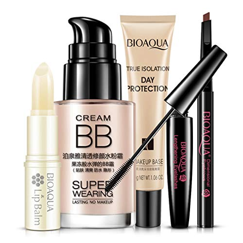 Lippenbalsam-kits (DERNON Bright Cosmetics Make-up Set Kit Lippenbalsam BB Cream Augenbrauenstift Mascara Cream Multicolor)