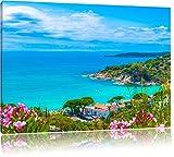 Panorama über die Küste Italiens an der Toskana, Format: 120x80 auf Leinwand, XXL riesige Bilder fertig gerahmt mit Keilrahmen, Kunstdruck auf Wandbild mit Rahmen, günstiger als Gemälde oder Ölbild, kein Poster oder Plakat