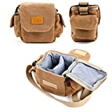 Tan-Brown Small Sized Canvas Carry Bag With Customizable Interior Storage Compartment & Adjustable Shoulder Strap for Topop Day and Night Vision Binoculars 8x21 - by DURAGADGET