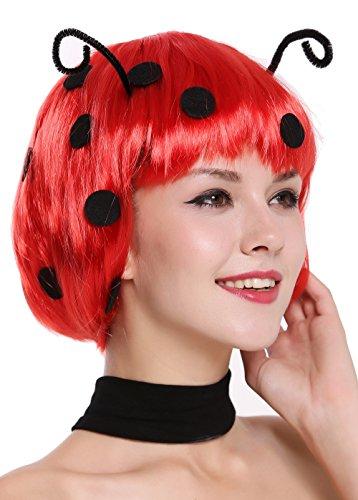 WIG ME UP ® - 91574-ZA13 Peluca Mujer Carnaval Halloween Muy Lindo Mariquita Bob Rojo con Puntos Negros Antenas