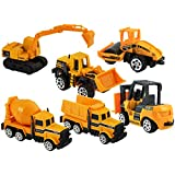 DealBindaas Construction Set Of 6 Pcs | JCB | Truck | Mixer | Jcv Mix | More Items | Free Wheel | Scale 1:64 | Kids Gift Toy | Dinky Model | Metal And Plastic Body