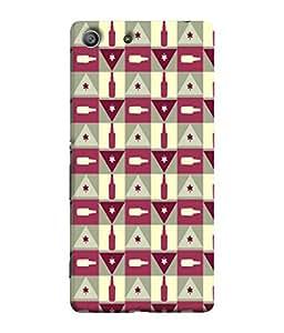 PrintVisa Designer Back Case Cover for Sony Xperia Z3 :: Sony Xperia Z3 Dual D6603 :: Sony Xperia Z3 D6633 (maroon pink grey triangle cheks)