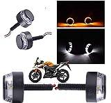 #6: AutoSun Handlebar Light Indicators Bar End Turn Signal Grip Dual Color White and Yellow (Bike All Type)