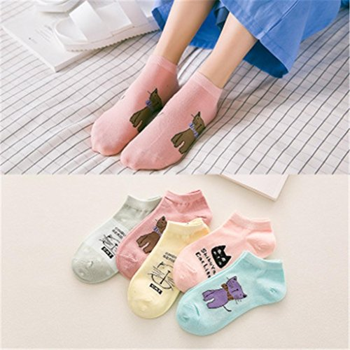 Wawer Women's Breathable Pop Socks, Cotton Low Cut Ankle Socks Casual Work Business Cartoon Cat Fashion Comfortable Sock