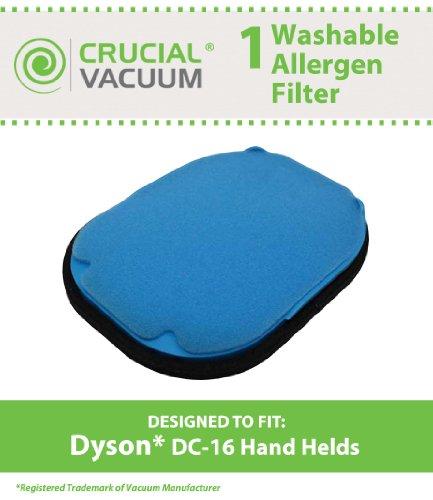 Hohe Qualität waschbar wiederverwendbar Vormotorfilter passend für alle Dyson DC16Hand Leerstellen; Vergleichen zu Dyson Teil # 912153–01; Entworfen und Hergestellt von Crucial Vacuum